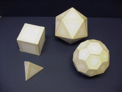 Some Platonic and Archimedean solids. Do you know which is which ?